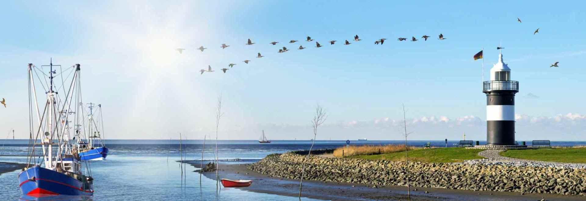Hafeneinfahrt Nordseebad Wremen - Wurster Nordseeküste