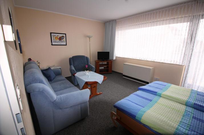 Heimi 1 mit geschmacjvollem Wohnzimmer und Schlafsofa