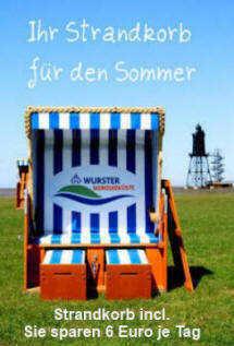 Strandkorb im Preis enthalten. Sie sparen 6 Euro am Tag.