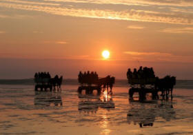Sonnenuntergang im Wattenmeer an der Nordsee