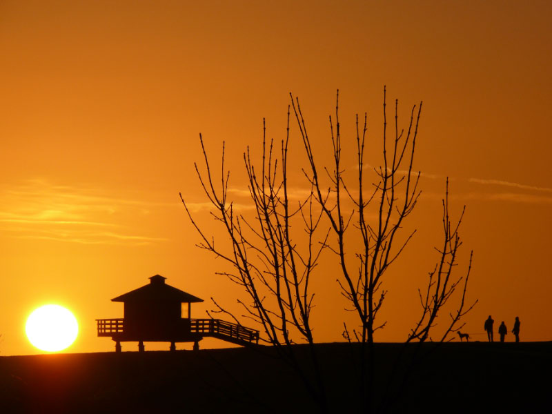Sonenuntergang am Deich beim Beobachtungsturm in Dorum-Neufeld
